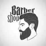 Винтажная эмблема парикмахерской, ярлык, значок, логотип Стоковые Фотографии RF