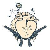 Винтажная эмблема стиля с человеческим сердцем и 2 Стоковое Изображение