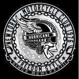 Винтажная эмблема черепа велосипедиста Стоковые Фотографии RF