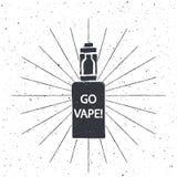 Винтажная эмблема электронной сигареты иллюстрация штока