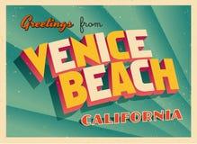 Винтажная Touristic поздравительная открытка от пляжа Венеции, Калифорнии иллюстрация вектора