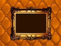 Винтажная woodern рамка на кожаном backround Стоковое Изображение