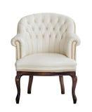 Винтажное бежевое кожаное изолированное кресло стоковое фото