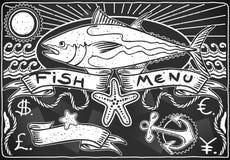 Винтажное графическое классн классный для меню рыб иллюстрация вектора