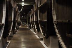 Винтажное деревянное несется подвал винодельни Стоковые Фото