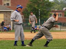 Винтажное действие бейсбола Стоковые Фото