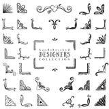 Винтажное декоративное собрание углов Нарисованный рукой дизайн вектора Стоковые Изображения