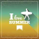 Винтажное летнее время отдыхает плакат. Стоковые Фотографии RF