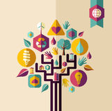 Винтажное зеленое дерево концепции Стоковое фото RF