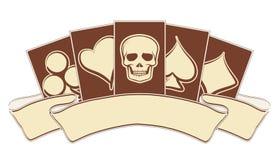 Винтажное знамя казино с элементами покера Стоковое фото RF