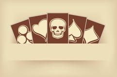 Винтажное знамя казино с элементами покера Стоковая Фотография RF