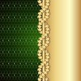 Винтажное золото и зеленая предпосылка с листьями лавра бесплатная иллюстрация