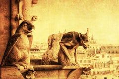 Винтажное изображение стиля горгульи в Париже Стоковые Фото