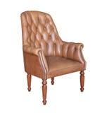 Винтажное коричневое кожаное изолированное кресло Стоковое фото RF