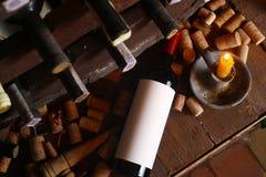 Винтажное красное вино в погребе Стоковое Фото