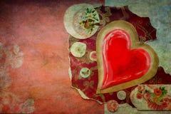 Винтажное красное сердце Стоковые Фото
