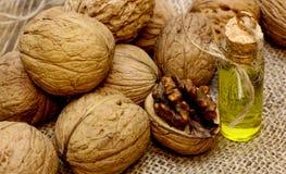 Винтажное масло грецкого ореха бутылки Стоковая Фотография RF