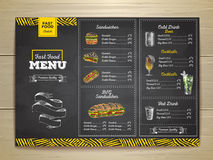Винтажное меню фаст-фуда чертежа мела Эскиз сандвича