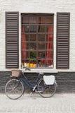 Винтажное окно кирпичной стены велосипеда Стоковые Фото