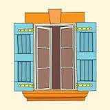 Винтажное окно на cream предпосылке Стоковое Фото