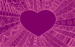 Винтажное орнаментальное сердце рамки иллюстрация вектора