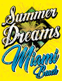 Винтажное оформление спорта Miami Beach; график футболки; вектор Стоковые Фото