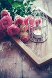 Винтажное оформление с розами Стоковое Изображение