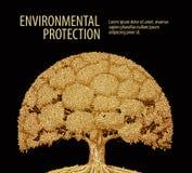 Винтажное одиночное дерево с плотной листвой Природа или экологичность знамени шаблона дизайна вектора бесплатная иллюстрация