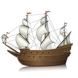 Винтажное парусное судно с отражением Стоковое Фото