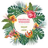 Винтажное приглашение свадьбы Ультрамодные тропические листья и дизайн цветков Ботаническая иллюстрация вектора Стоковая Фотография