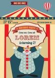 Винтажное приглашение дня рождения цирка Стоковые Фото