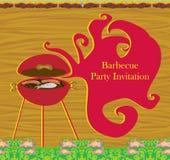 Винтажное приглашение партии барбекю Стоковые Фотографии RF
