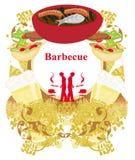 Винтажное приглашение партии барбекю Стоковые Изображения