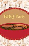 Винтажное приглашение партии барбекю Стоковое Изображение RF