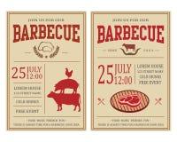 Винтажное приглашение партии барбекю BBQ, шаблон рогульки еды иллюстрация штока