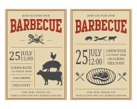 Винтажное приглашение партии барбекю BBQ, шаблон рогульки еды Стоковые Изображения