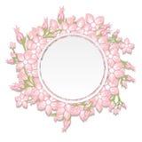 Винтажное приглашение свадьбы с красочными цветками весны вектор Стоковые Фото