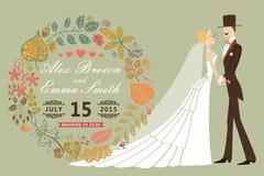 Винтажное приглашение свадьбы с невестой, groom, венком листьев осени иллюстрация вектора