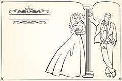 Винтажное приглашение свадьбы Стоковое Изображение RF