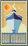 Винтажное ретро туристическое судно иллюстрация вектора