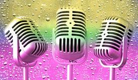 Винтажное ретро mics музыки пузыря стоковое изображение