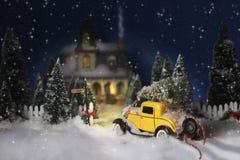 Винтажное рождество автомобиля Стоковое Изображение
