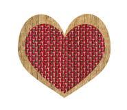 Винтажное сердце деревянных и ткани изолированное на белизне Стоковое Изображение RF