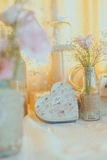 Винтажное сердце wirh украшения свадьбы стоковое фото