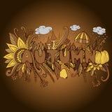 Винтажное слово осени с элементами тыквой Doodle, грибом, flo иллюстрация штока