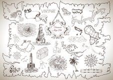 Винтажное собрание дизайна для карты сокровища или пирата с выгравированными чертежами иллюстрация вектора