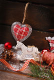 Винтажное украшение рождества на деревянной предпосылке Стоковые Фото