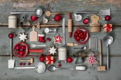 Винтажное украшение стиля страны для рождества с древесиной и набором Стоковые Фото