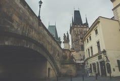 Винтажное фото башни Карлова моста, Прага Стоковое фото RF
