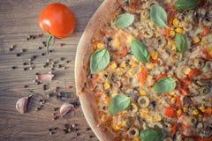 Винтажное фото, вегетарианская пицца, ингридиенты и специи на деревенской доске Стоковые Изображения RF